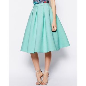 ASOS Mint Bonded Crepe Midi Skirt